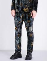 Etro Forest-patterned straight slim-fit mid-rise velvet trousers