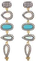 Freida Rothman Pave CZ Turquoise Linear Drop Earrings