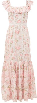 LoveShackFancy Niko Ruffled Lace-insert Floral-print Cotton Dress - Pink Multi