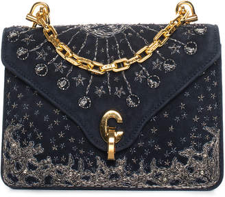 Christian Dior Fall 2017 Navy Embroidered Suede Mini C'est Flap Bag