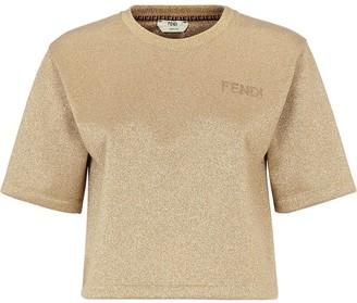 Fendi glitter embroidered logo T-shirt