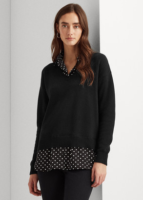 Ralph Lauren Layered Cotton V-Neck Sweater