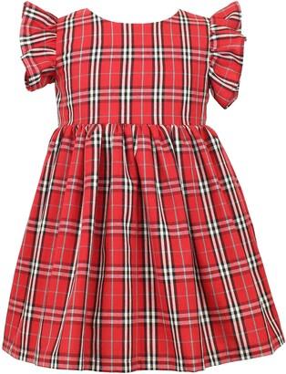 Popatu Plaid Flutter Sleeve Dress