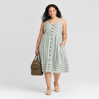 Universal Thread Women's Plus Size Striped Sleeveless Button-Front Sun Dress - Universal ThreadTM