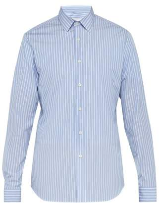 Prada Striped Cotton Poplin Shirt - Mens - Blue Multi