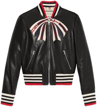 Gucci Leather bomber jacket with bow