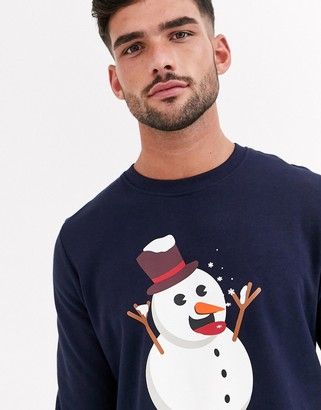Jack and Jones Originals Christmas snowman graphic sweat in navy