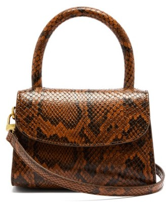 BY FAR Snakeskin-embossed Top Handle Handbag - Brown Multi