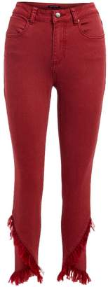 Elliott & Vine Women's Denim Pants and Jeans Burgundy - Burgundy Criss-Cross Chiffon-Trim Skinny Jeans - Women & Plus