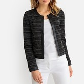 Anne Weyburn Short Fitted Collarless Jacket in Metallic Jacquard