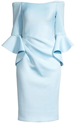 Jovani Off-Shoulder Bell Sleeve Sheath Dress