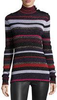 Diane von Furstenberg Leela Metallic Button-Neck Sweater, Royal Navy Stripe