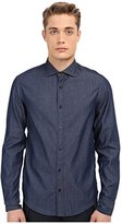 Armani Jeans Men's Long Sleeve Chambray Shirt, Blue Small