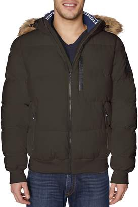 Nautica Faux Fur-Trim Quilted Stretch Bomber Jacket