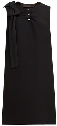 Miu Miu Crystal-embellished Ruched Crepe Shift Dress - Womens - Black