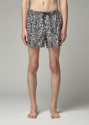 Burberry Men's Swim Short in Black Leopard Size Small 100% Polyamide