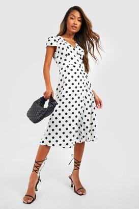 boohoo Boutique Polka Dot Wrap Dress