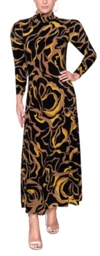 Christian Siriano New York Printed Mock-Neck Midi Dress