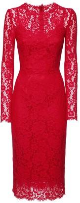 Dolce & Gabbana Cotton Blend Lace Midi Dress