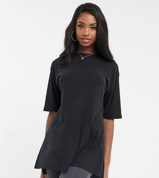 Asos Tall DESIGN Tall relaxed longline t-shirt in rib with side splits in black