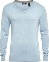Oxford Jax V-Neck Cntrst Tip Knit Blu/Gryx