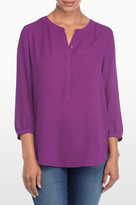 NYDJ Georgette 3/4 Blouse With Pleated Back