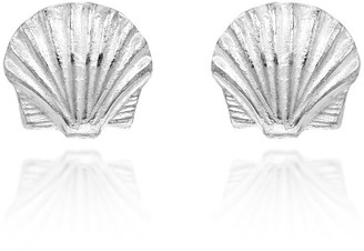 Aeravida Handmade Ocean Beauty Shiny Scallop Sea Shell Sterling Silver Stud Earrings
