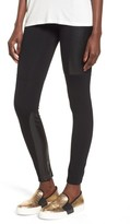 BP Women's Faux Leather Mixed Moto Leggings
