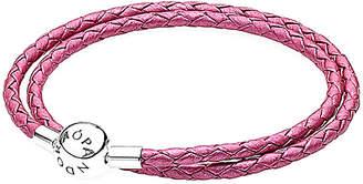 Pandora Charm Carrier Silver & Honeysuckle Pink Leather Wrap Bracelet