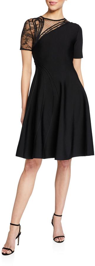 Oscar de la Renta Lace-Inset Cap-Sleeve Mini Dress