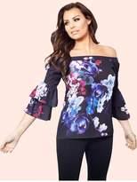 Jessica Wright Flissie Blue Bardot Floral Top
