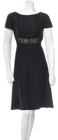 Valentino Wool Lace-Trimmed Dress