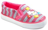 Hello Kitty Toddler Girls' Canvas Sneakers - Pink & Gray Stripes