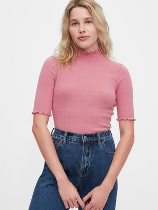 Gap Fitted Pointelle Mockneck Shirt
