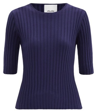 Allude Round-neck Ribbed Cotton-blend Sweater - Navy