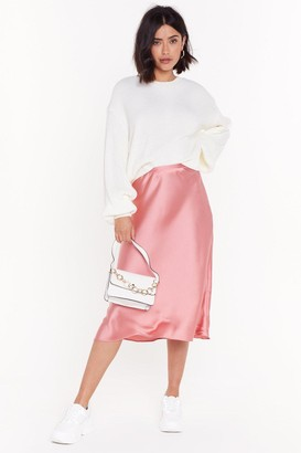 Nasty Gal Womens Sleek Havoc Bias Cut Satin Skirt - Pink - L