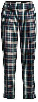 BOSS Women's Tocanes Stretch Cotton Check Cuffed Trousers