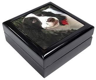 Springer Spaniel Dog and Flower Keepsake/Jewellery Box Christmas Gift
