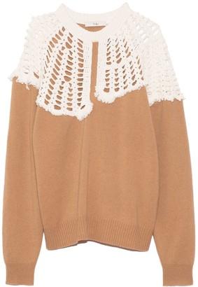 Tibi Lana Crochet Collar Pullover in Sand/White