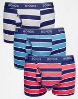 Bonds 3 Pack Guyfront Trunks With Stripe