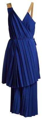 Colville - Asymmetric Pleated Dress - Blue