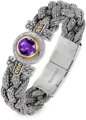 Effy 18K Yellow Gold and Sterling Silver Amethyst Tennis Bracelet with 0.18 CT. T.W. Diamonds