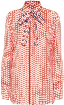 Valentino Exclusive to Mytheresa Printed tie-neck silk blouse