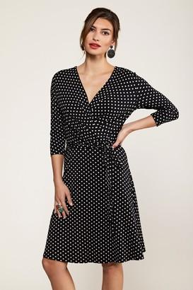 Yumi Jersey Black Spot Wrap Dress