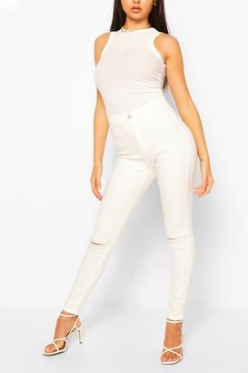 boohoo Washed Knee Rip Skinny Jean