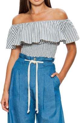 Flying Tomato A.Calin Off-the-Shoulder Striped Ruffle Crop Top