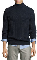 Brunello Cucinelli Donegal Ribbed-Knit Turtleneck Sweater, Navy