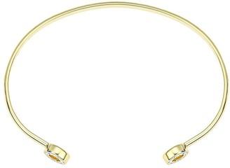 Evoke Gold Plated Sterling Silver Swarovski Crystal Torque Bangle