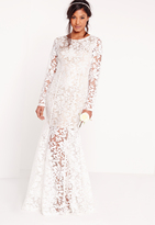 Missguided Bridal Lace Open Back Maxi Dress White