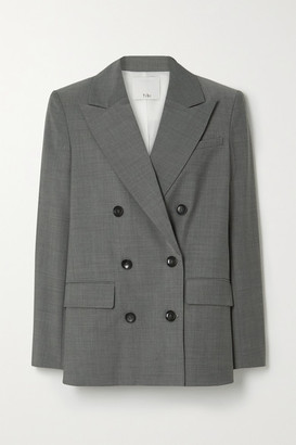 Tibi Double-breasted Woven Blazer - Gray